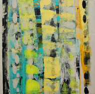 STELLAR MEMORIES by V .Hariraam , Abstract Painting, Acrylic on Canvas, Beige color