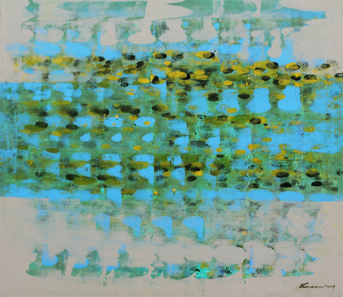 STELLAR MEMORIES 75 by V .Hariraam , Abstract Painting, Acrylic on Canvas, Green color