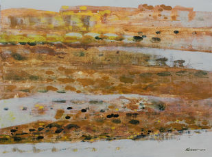 STELLAR MEMORIES 77 by V .Hariraam , Painting, Acrylic on Canvas, Brown color