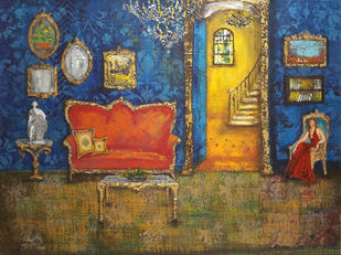 Baroque 39 by Sheetal Singh, Art Deco Painting, Acrylic on Canvas, Brown color