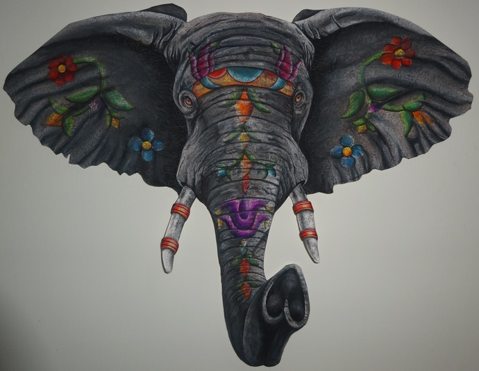 Raj Hathi by Christina Banerjee, Impressionism Painting, Gouache on Paper, Gray color