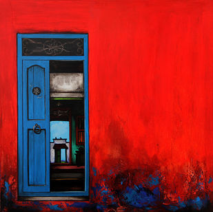 Door 20 by K R Santhanakrishnan, Geometrical Painting, Acrylic on Canvas, Red color
