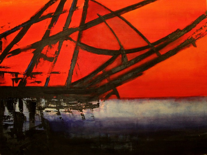 Kochi III by Pratap SJB Rana, Expressionism Painting, Acrylic on Canvas, Red color