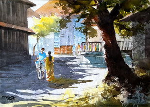Romantic 1980s by Mopasang Valath, Impressionism Painting, Watercolor on Paper, Brown color