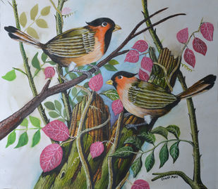 Birds painting (5) by santosh patil, Impressionism Painting, Watercolor on Paper, Gray color