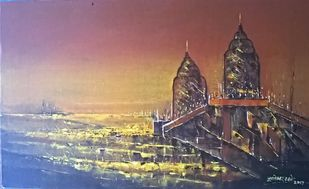 Peak by Dnyaneshwar Dhavale , Impressionism Painting, Acrylic on Canvas, Brown color