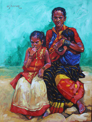mother & child by K V Shankar, Expressionism Painting, Acrylic on Canvas, Cyan color