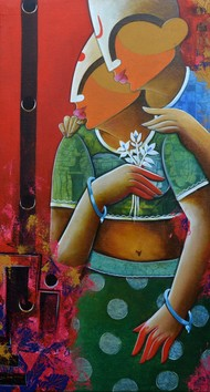 couple by anupam pal, Decorative Painting, Acrylic on Canvas, Brown color