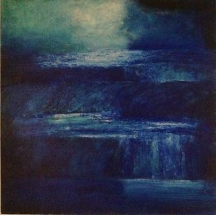 Abstract blue landscape by P. Saraswati, Abstract Painting, Acrylic & Ink on Canvas, Blue color