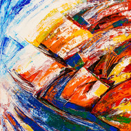 Flow of Dreams 7 by gurdish pannu, Abstract Painting, Acrylic on Canvas, Brown color