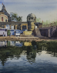 Morning Glory at Nashik by Sohel Sayyad , Impressionism Painting, Watercolor on Paper, Brown color