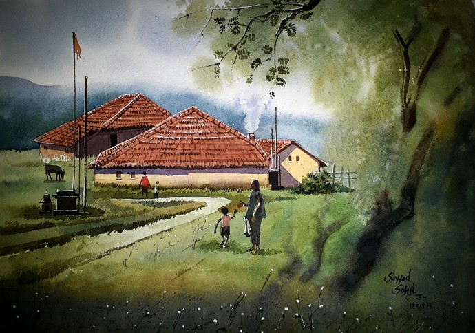 House in grass by Sohel Sayyad , Impressionism Painting, Watercolor on Paper, Green color