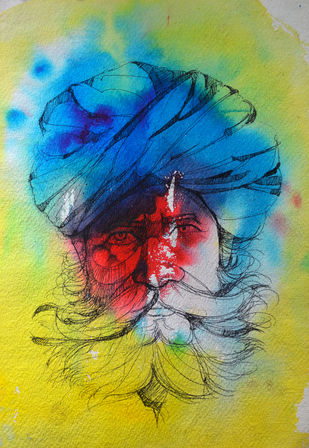 Rajasthani Man by Uday Tadphale, Impressionism Painting, Watercolor & Ink on Paper, Green color