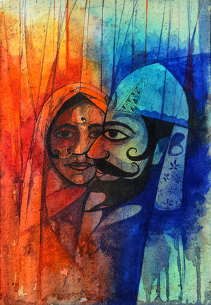 katputali by Uday Tadphale, Impressionism Painting, Watercolor & Ink on Paper, Blue color