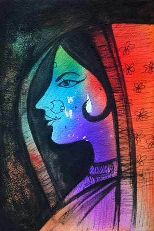 Rajasthani woman by Uday Tadphale, Expressionism Painting, Watercolor & Ink on Paper, Blue color
