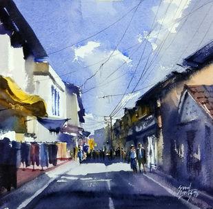 street by Sunil Linus De, Impressionism Painting, Watercolor on Paper, Blue color