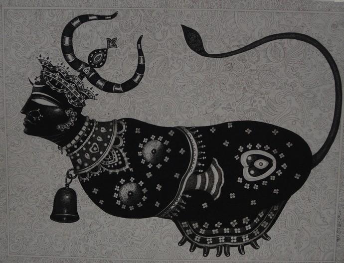 Kamdhenu by Bhaskar Lahiri, Traditional Painting, Ink on Paper, Gray color