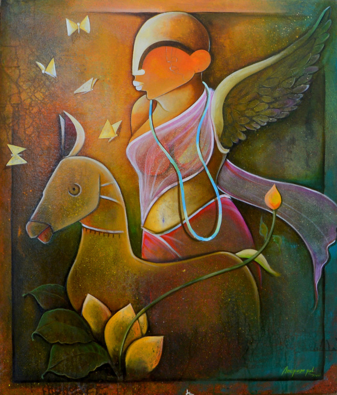 In the Spirit of Mother Earth by anupam pal, Decorative Painting, Acrylic on Canvas, Brown color