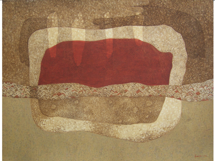 Mindscape by Abhijit Das, Abstract Painting, Tempera on Board, Brown color