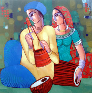 Bengali tune by Sekhar Roy, Decorative Painting, Acrylic on Canvas, Green color