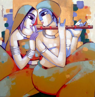 Romantic couple by Sekhar Roy, Decorative Painting, Acrylic on Canvas, Brown color