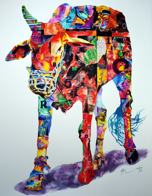 """Cow, Animal Painting, Watercolor on paper, Red, Green, Violet, Yellow """"In Stock"""" by Steven Gandhi, Expressionism Painting, Watercolor on Paper, Brown color"""