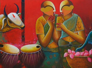 conversation 10 by anupam pal, Expressionism Painting, Acrylic on Canvas, Brown color