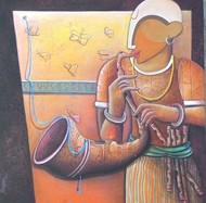 RHYTHM DEVINE 13 by anupam pal, Decorative Painting, Acrylic on Canvas, Brown color
