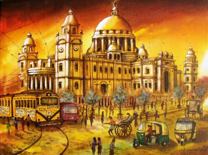 VICTORIA MEMORIAL IN KOLKATA by Anirban Seth, Impressionism Painting, Acrylic on Canvas, Brown color