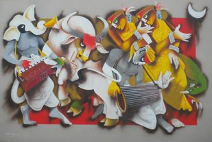 Folk Dance 5 by Uttam Manna, Expressionism Painting, Acrylic on Canvas, Brown color