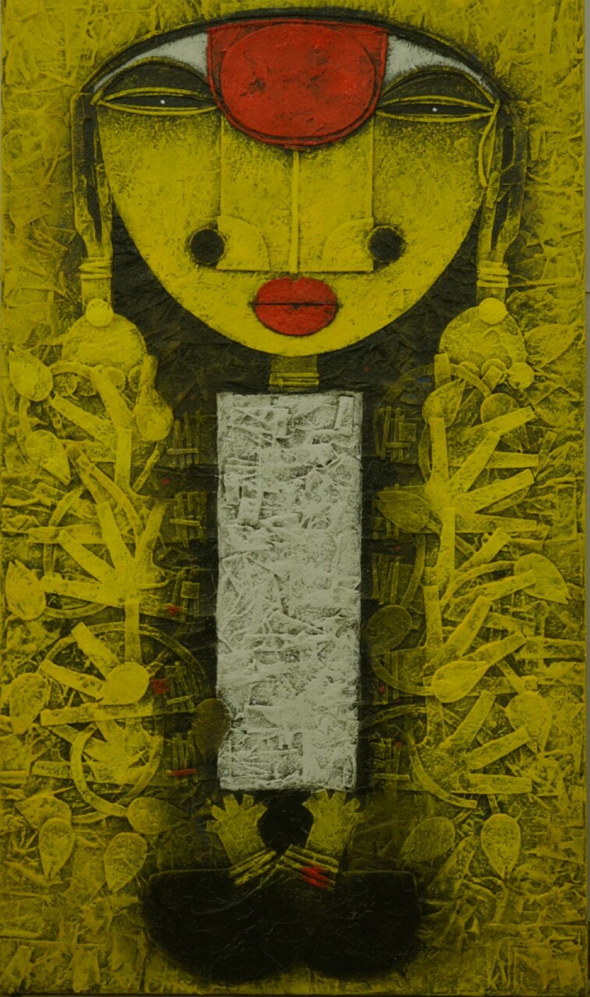 Mrinmoyee by Basukinath Dasgupta, Expressionism Painting, Acrylic on Canvas, Yellow color