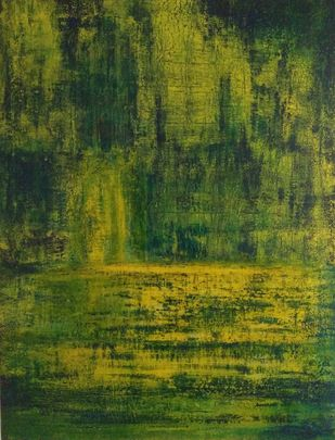 green yellow landscape by P. Saraswati, Abstract Painting, Acrylic on Canvas, Green color