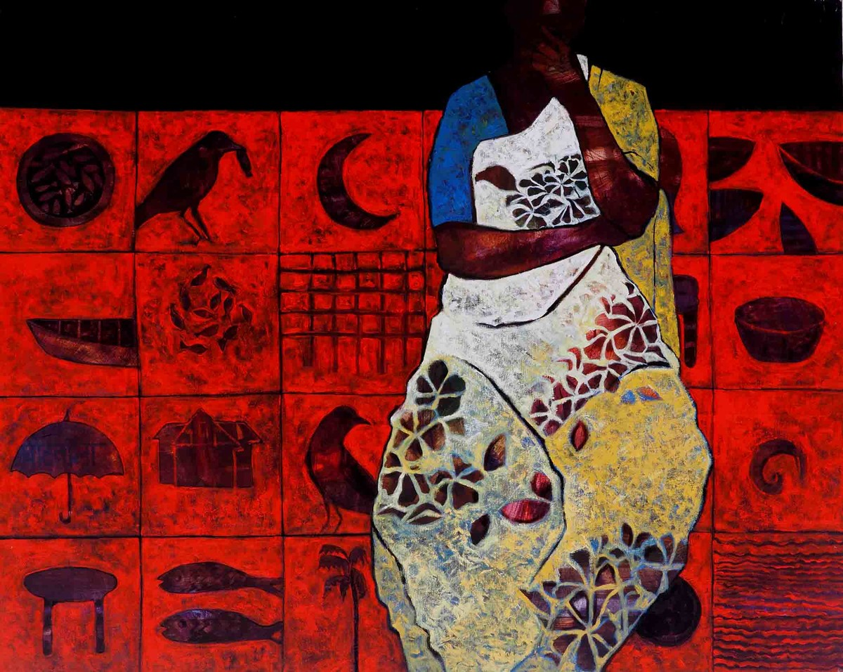 Thinker by Harshada Kolapkar, Traditional Painting, Acrylic on Canvas, Red color