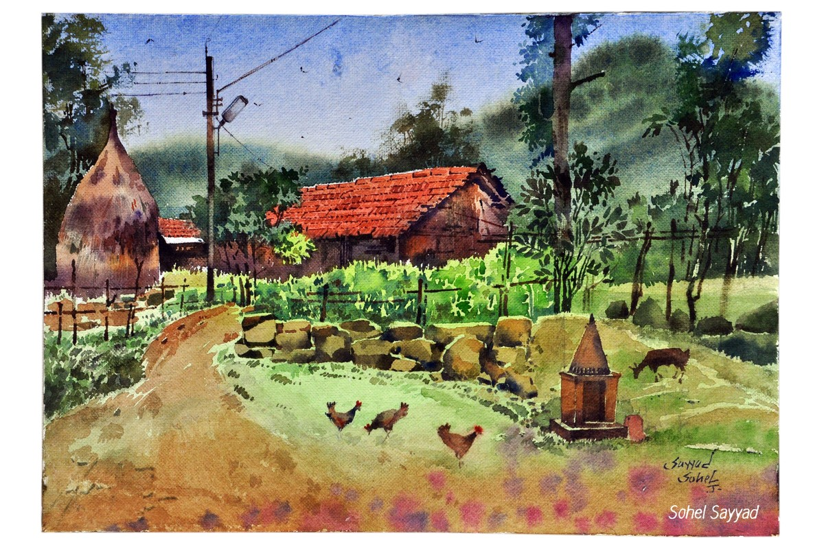 Rainy Evening by Sohel Sayyad , Impressionism Painting, Watercolor on Paper, Brown color