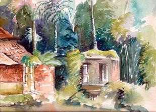 Landscape with tall trees Digital Print by Shalini Sinha,Impressionism