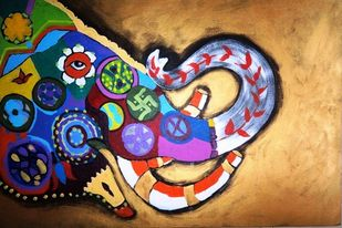 Golden haathi by Charushila, Expressionism Painting, Acrylic on Canvas, Brown color