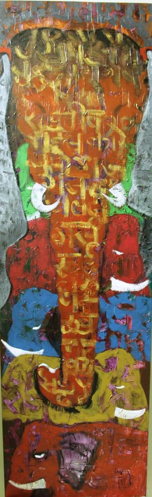 Family by Charushila, Expressionism Painting, Acrylic on Canvas, Brown color