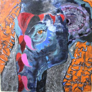 Elephant of lord Indra' by Charushila, Expressionism Painting, Acrylic on Canvas, Brown color