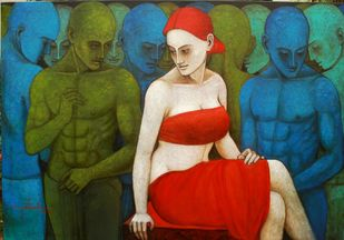 Cynosures by Asit Kumar Patnaik, Expressionism Painting, Oil & Acrylic on Canvas, Green color