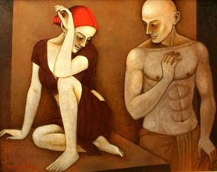 Mutual Entrancement by Asit Kumar Patnaik, Expressionism Painting, Oil & Acrylic on Canvas, Brown color