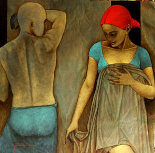 Intense Desires by Asit Kumar Patnaik, Expressionism Painting, Oil & Acrylic on Canvas, Brown color