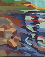 Reflecting waters by Sunita Bali, Abstract Textile, Mixed Media, Brown color