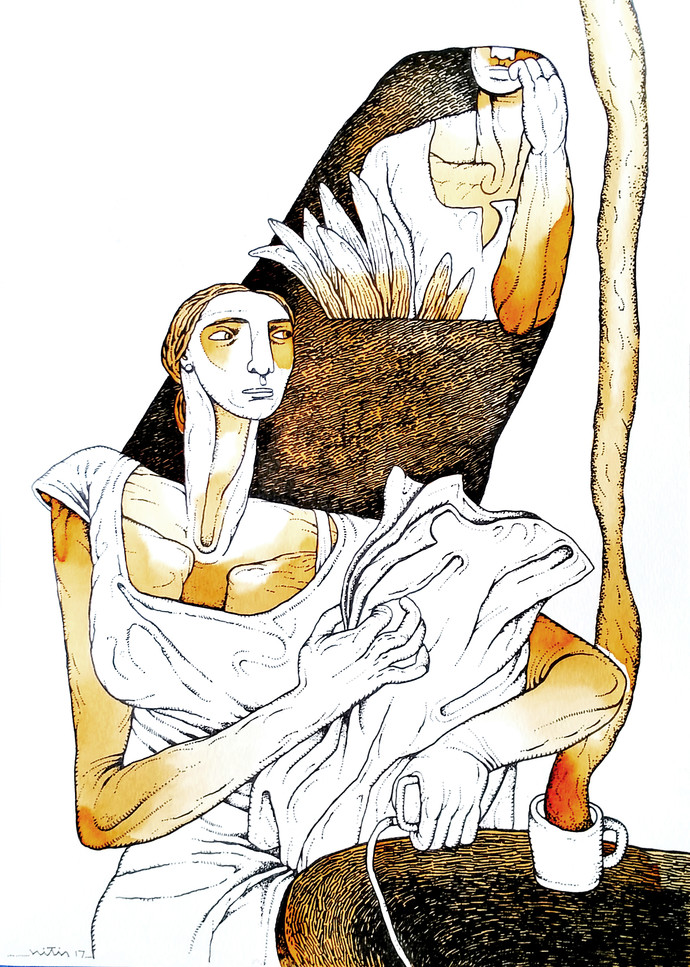 untitled by Nitin Kushwaha, Expressionism Drawing, Mixed Media on Paper, Beige color