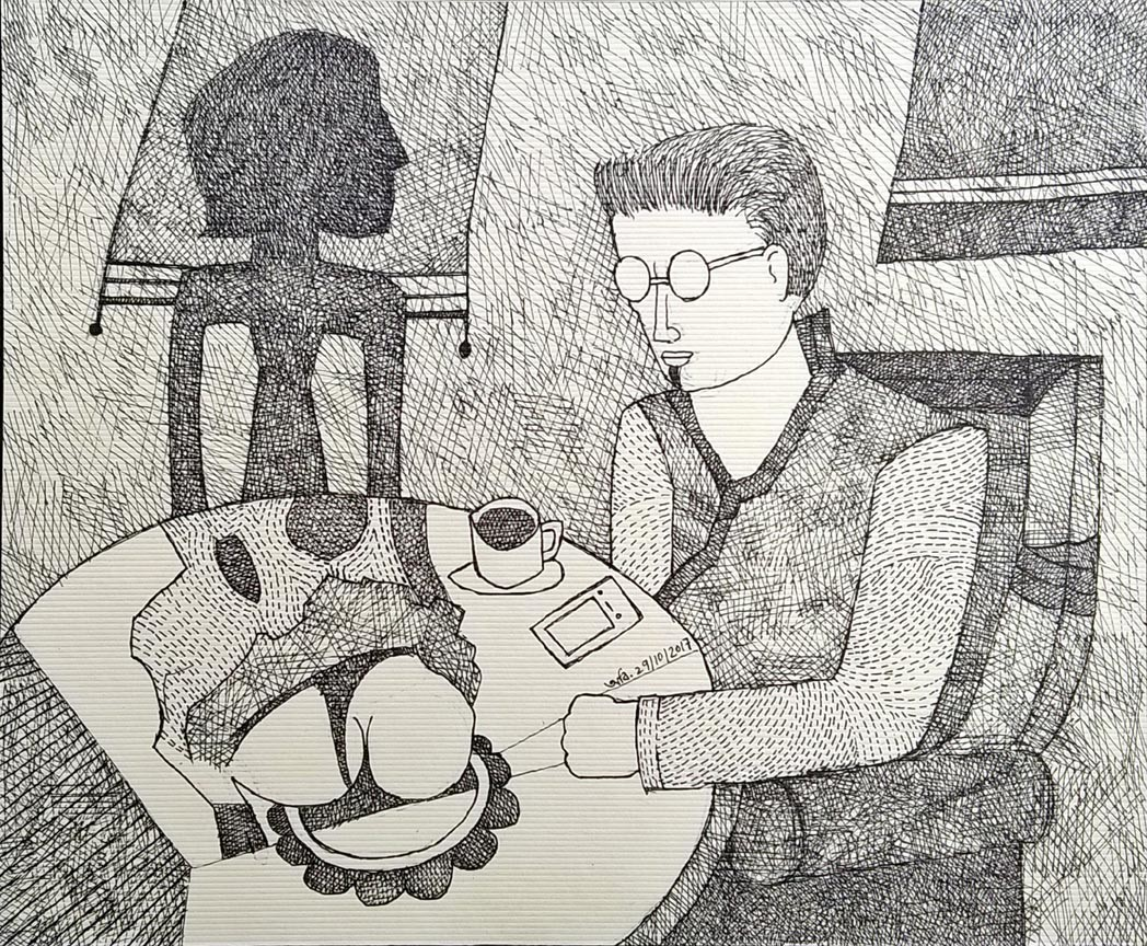 Dirty Conversations by Amit Biswas, Illustration Drawing, Pen & Ink on Paper, Gray color