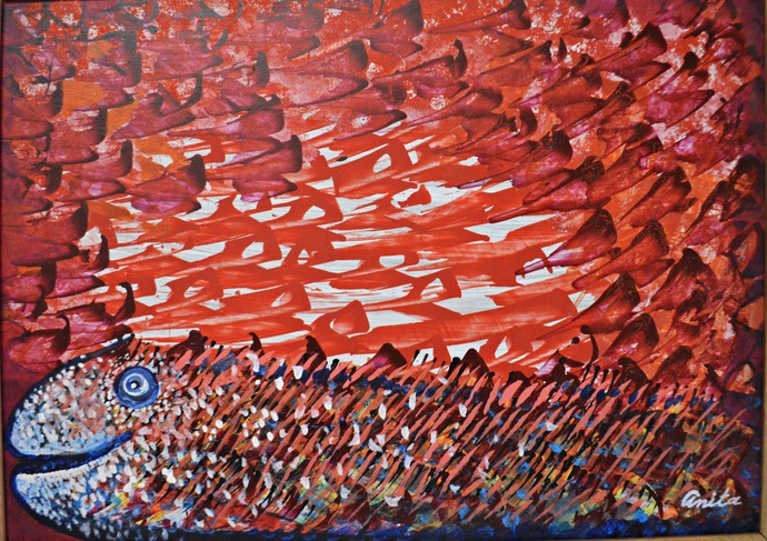 Seascape 2 by Anita Tiwary, Expressionism Painting, Acrylic on Canvas, Brown color