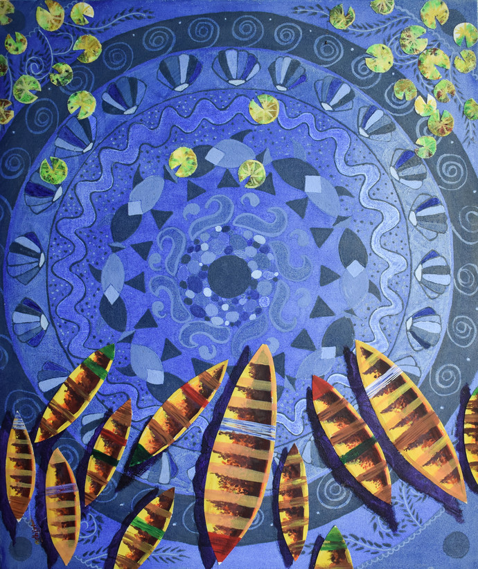 Nouka I (boats) by Adhijit Bhakta, Geometrical Painting, Acrylic on Canvas, Blue color
