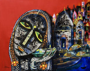 Banaras woman by Arun K Mishra, Expressionism Painting, Acrylic on Canvas, Brown color