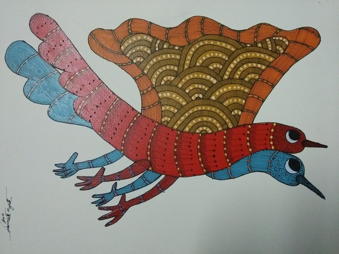 Let's fly in the sky by Sunil Shyam , Tribal Drawing, Acrylic on Paper, Gray color