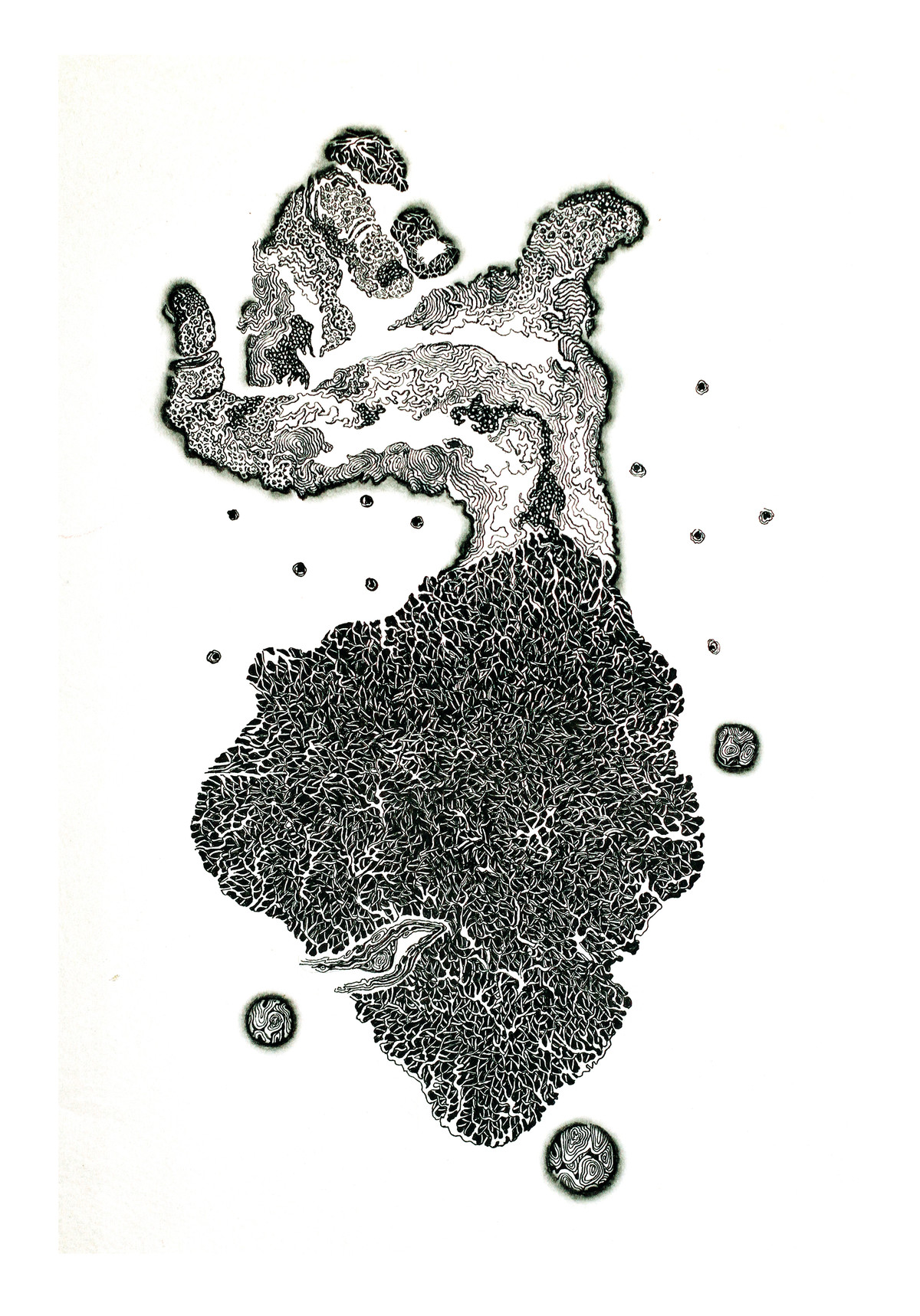 Solace- Union 5 by Tanushree Roy Paul, Illustration Drawing, Ink on Paper, White color