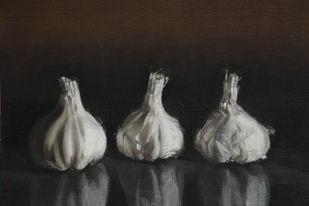 Garlic by Kiran Kumari B, Realism Painting, Oil on Paper, Gray color